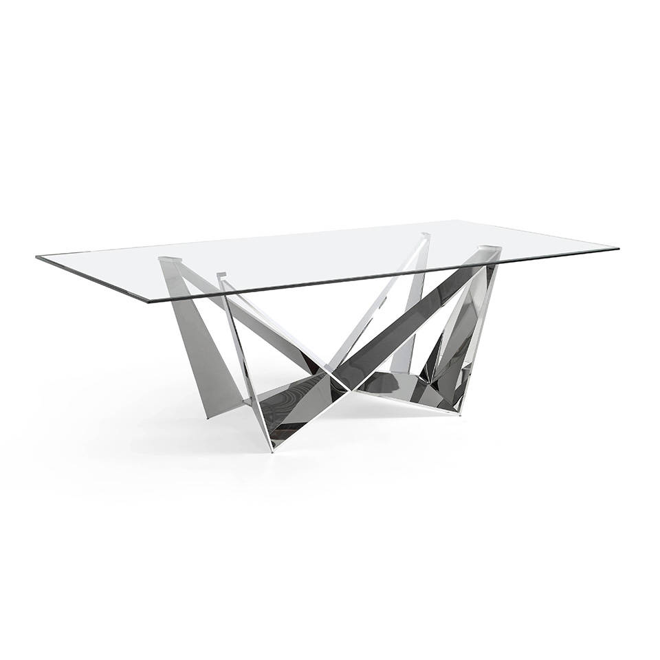 Stainless steel rectangular table with tempered glass...
