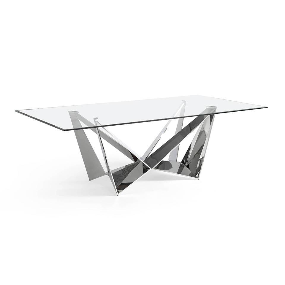 Mesa de comedor de acero inoxidable con tapa de cristal templado.