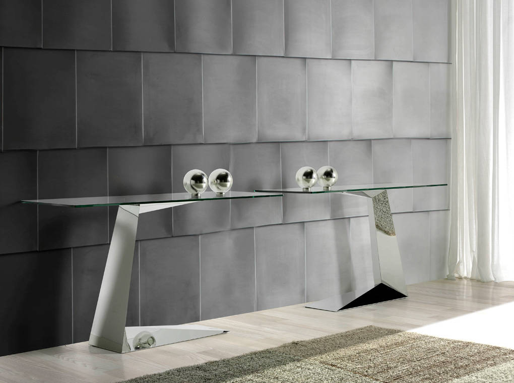 Stainless steel console with tempered glass top