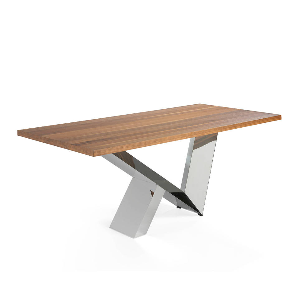 Dining table with Walnut top and stainless steel base