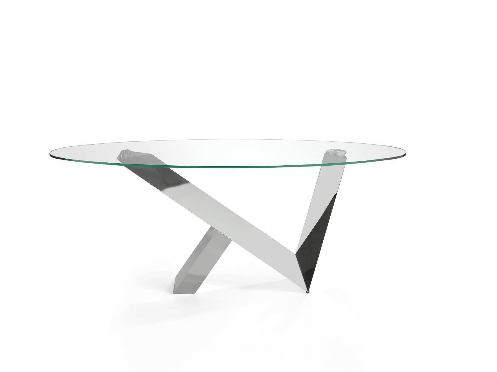 Dining table with tempered glass top and stainless steel frame.
