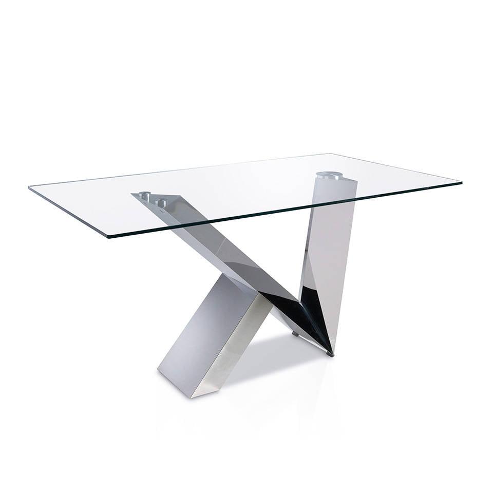 Mesa de comedor con base de acero inoxidable y tapa de cristal templado