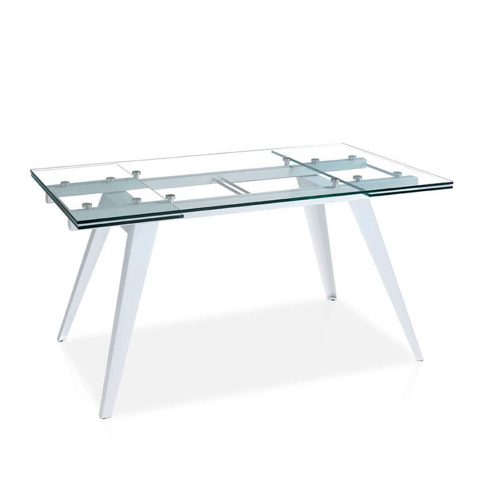 Mesa de comedor extensible de cristal templado y base de acero lacada