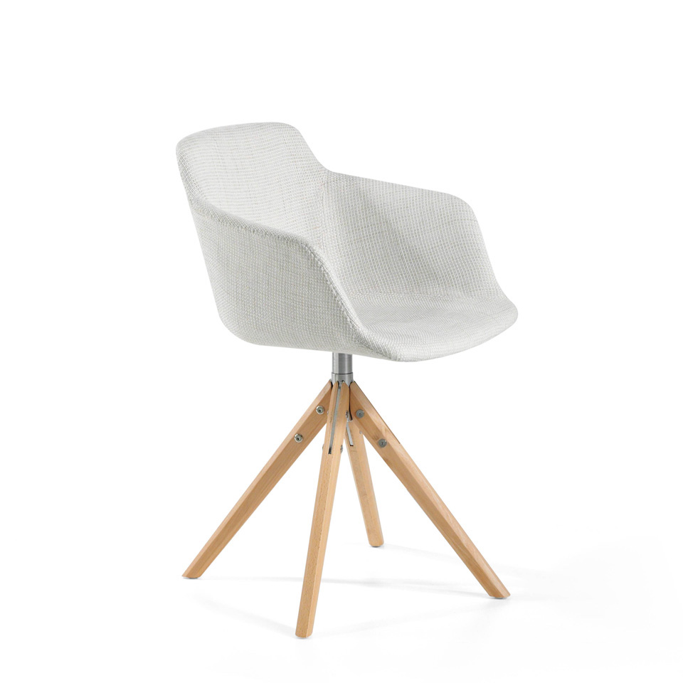 Swivel chair with upholstered seat and solid ash wood legs