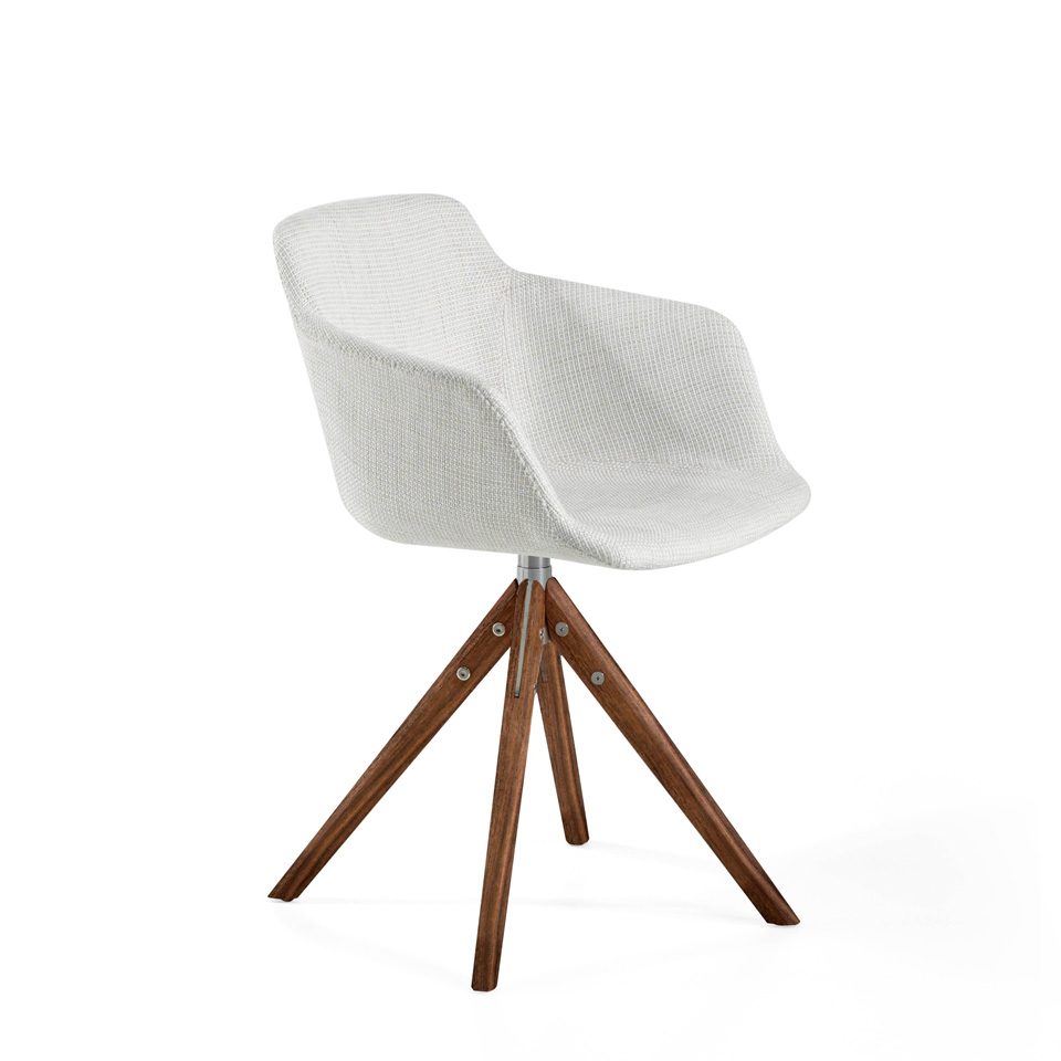 Swivel chair in fabric with structure in walnut veneered wood