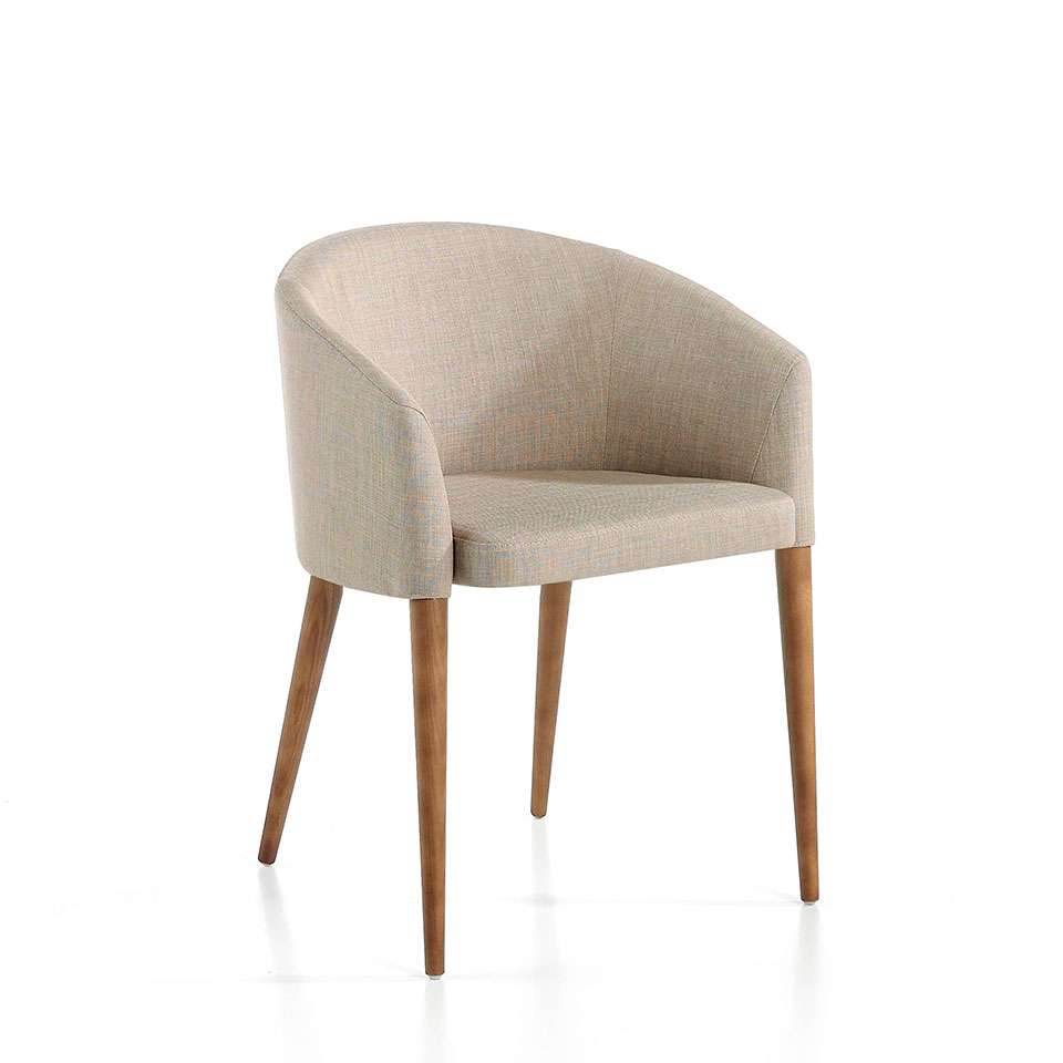 Chair upholstered in fabric with Walnut colored wooden legs