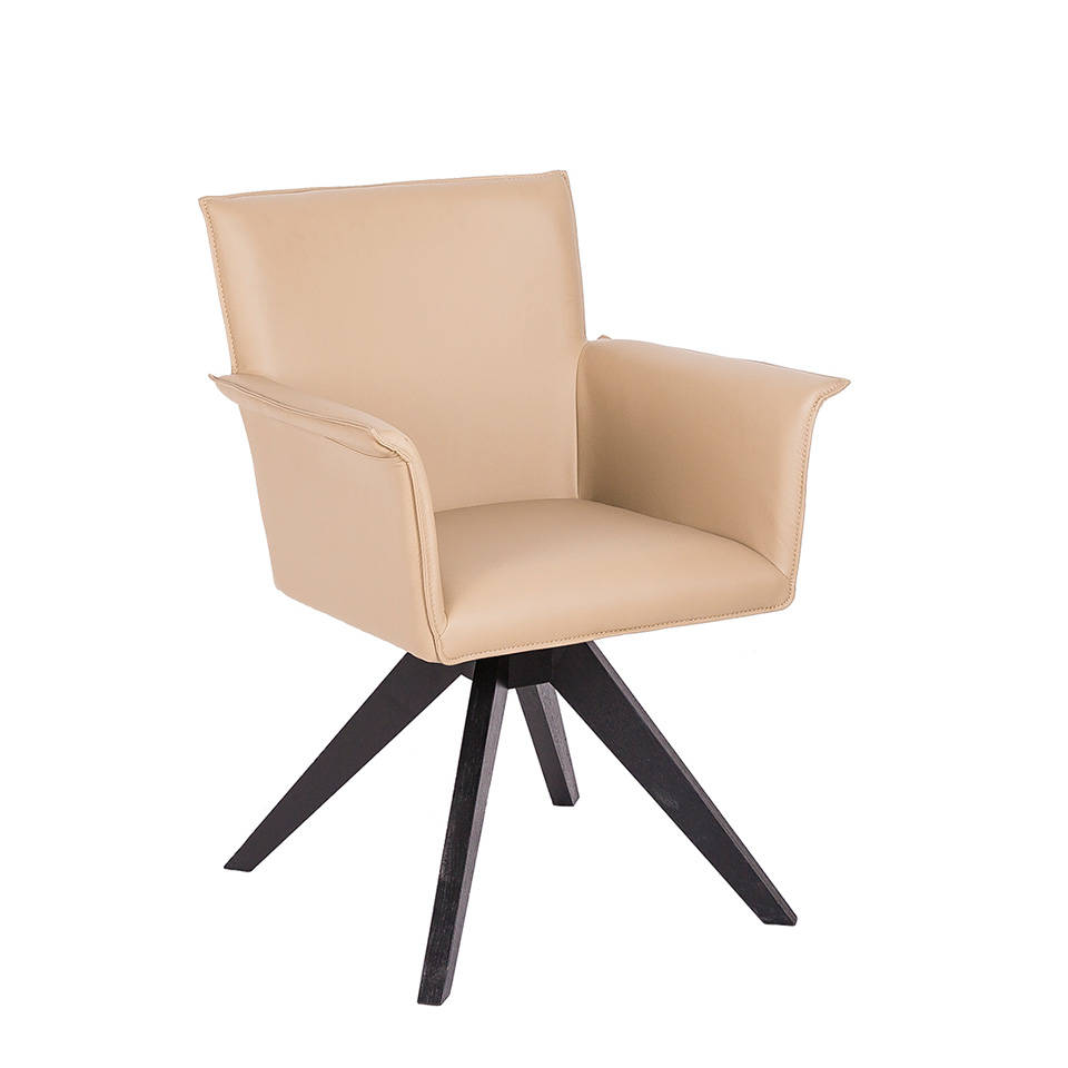 Swivel armchair upholstered in leatherette and Wenge-colored wooden legs