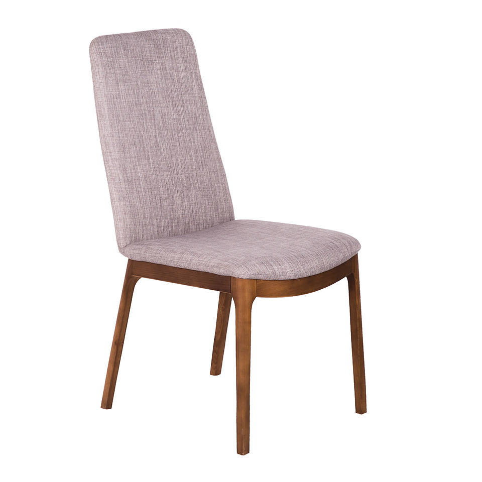 Chair upholstered in fabric and Walnut colored wooden structure