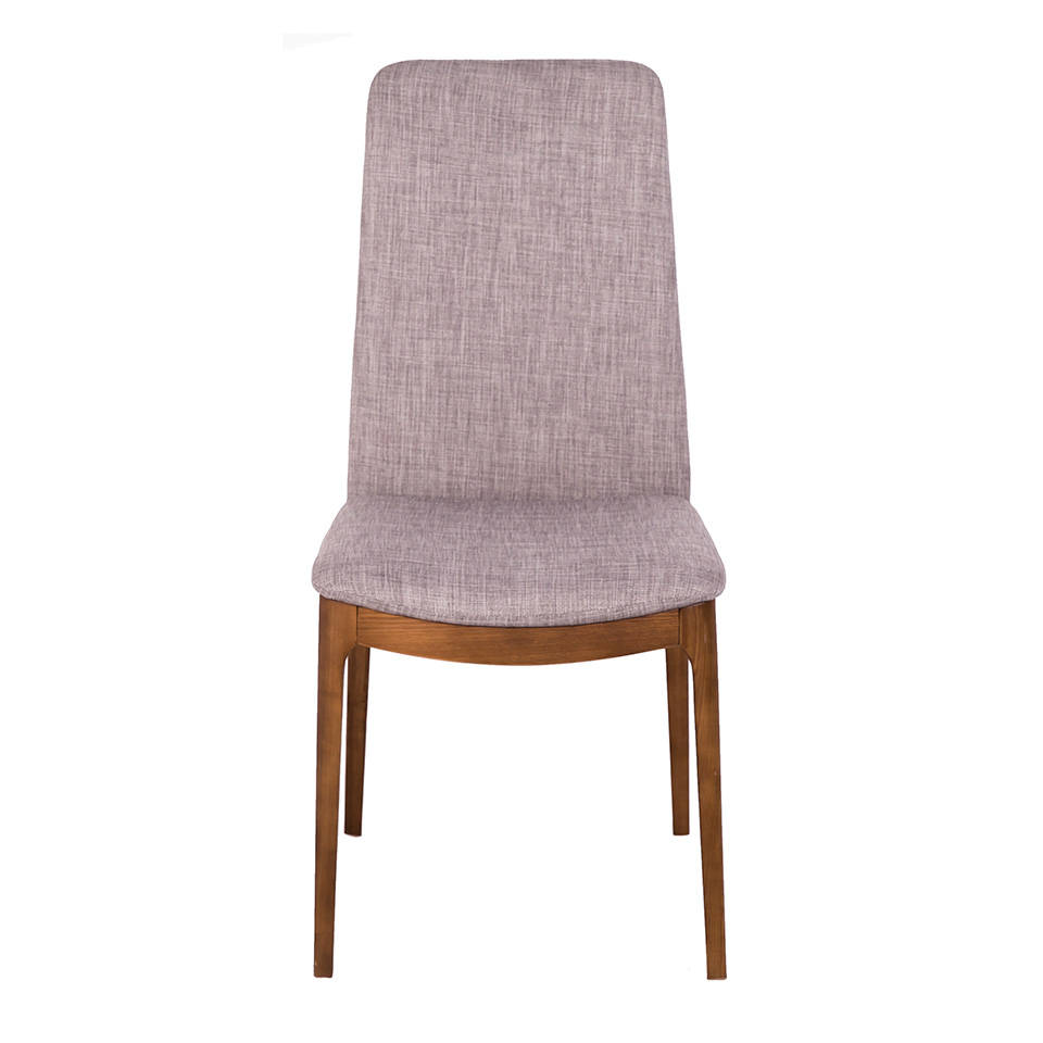Upholstered chair with wood structure in walnut color.