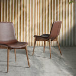 Dining room chair with legs in Walnut color