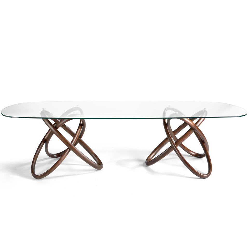 Glass dining table with double base in solid walnut wood