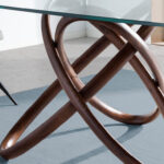 Glass dining table with double base in color walnut