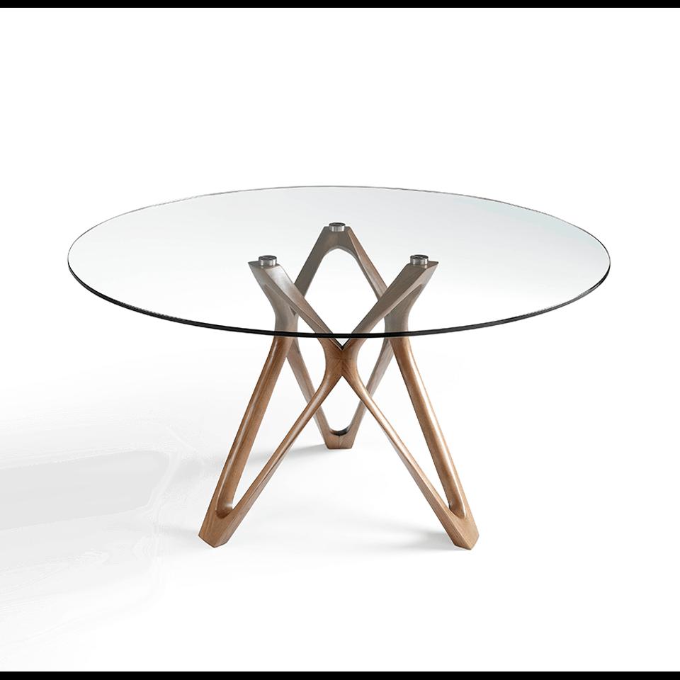 Mesa de comedor de madera maciza curvada color Nogal con tapa de cristal templado y base de acero