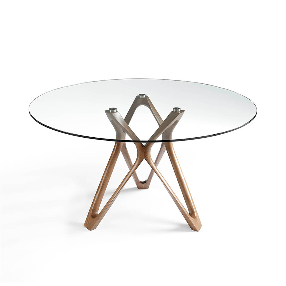 Walnut-coloured bent solid wood dining table with tempered glass tabletop and steel base