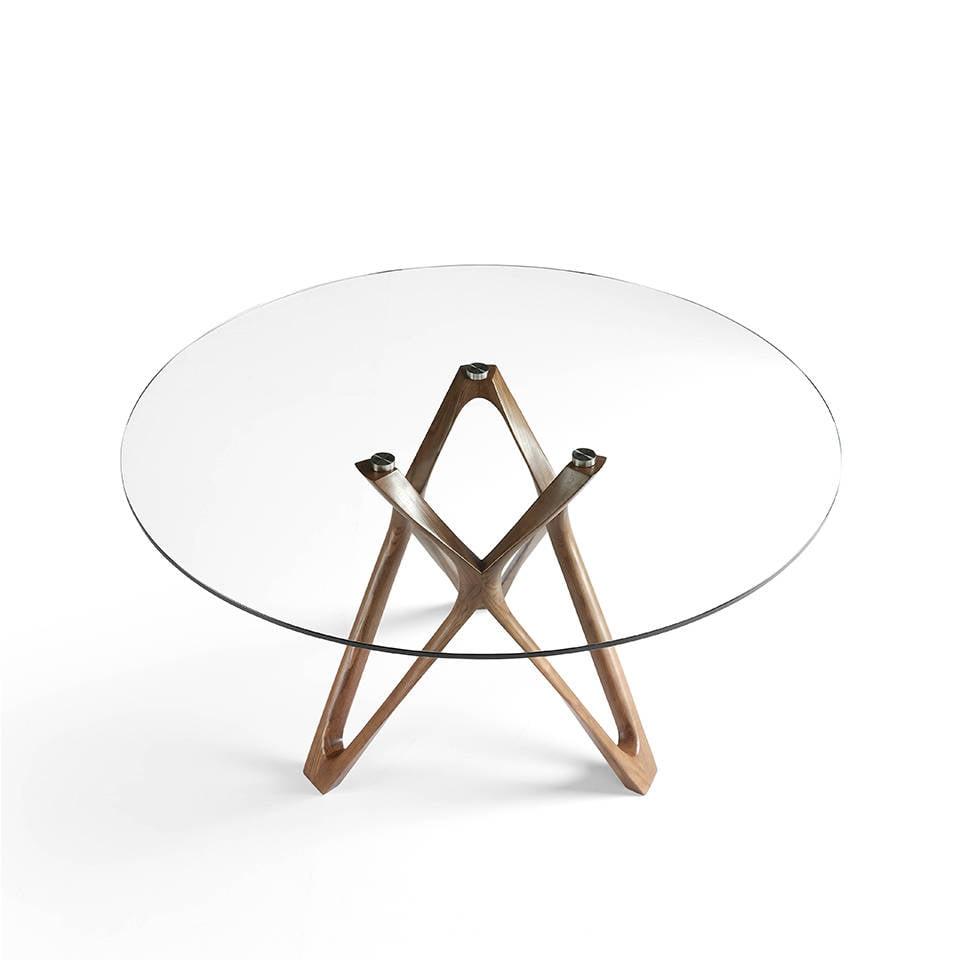 Mesa de comedor de madera maciza curvada color Nogal con tapa de cristal templado.
