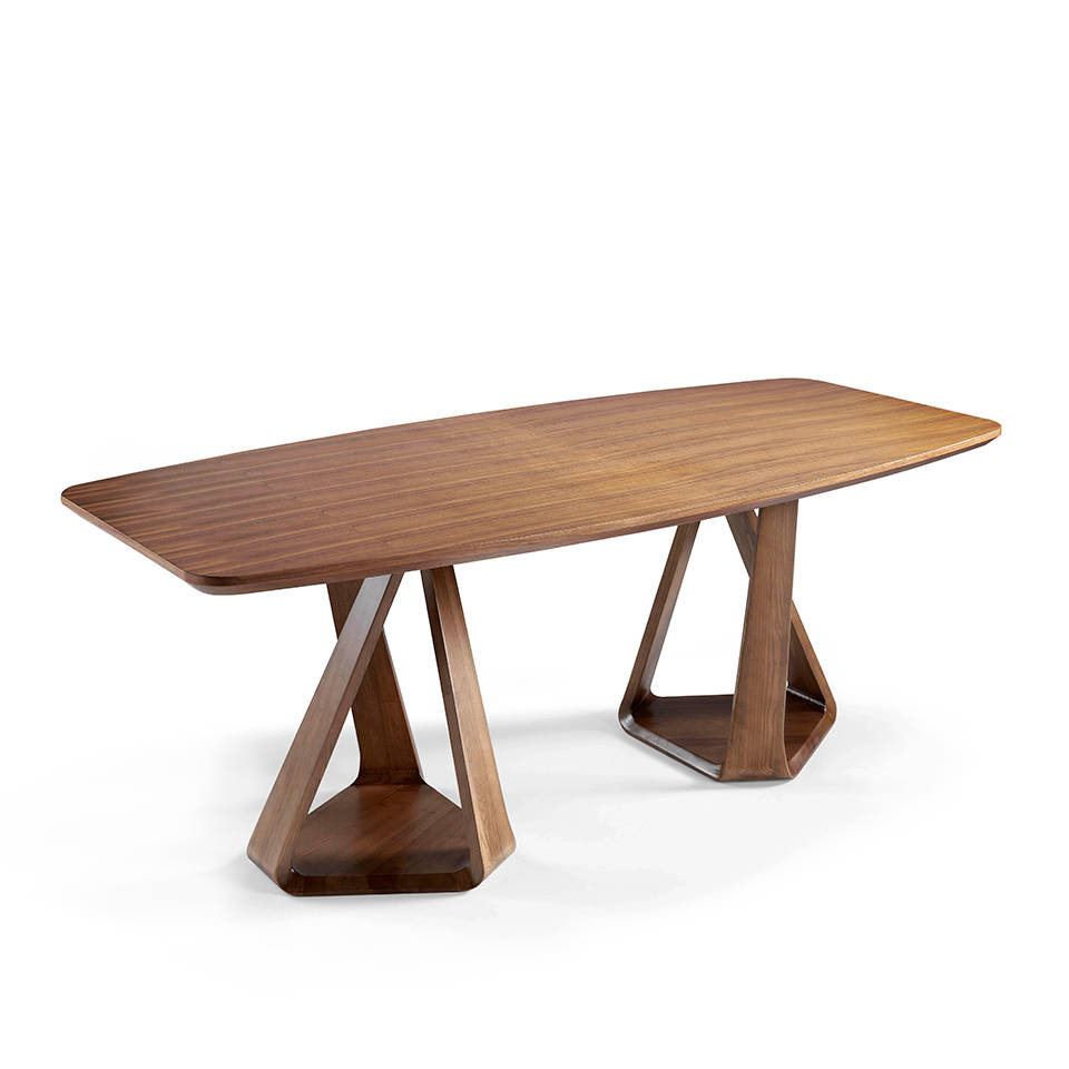 Two-base bent solid wood dining table with walnut wood-plated tabletop