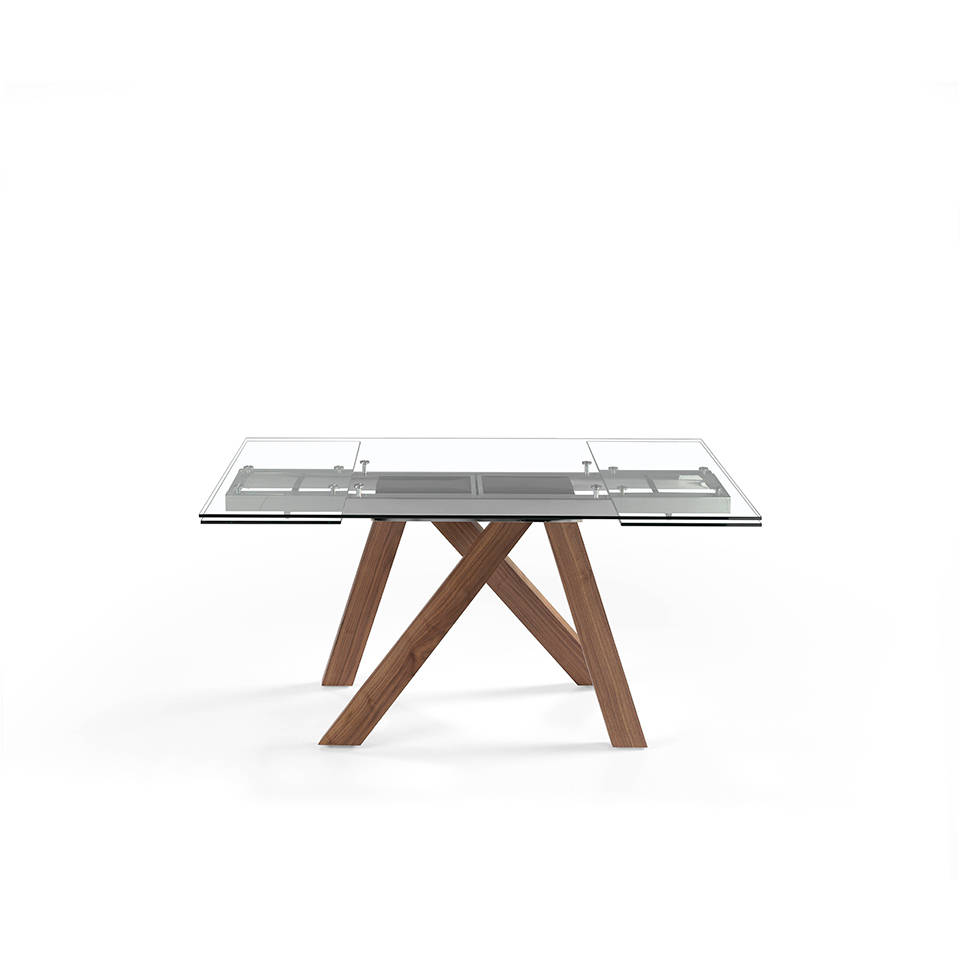 Extendable dining table in tempered glass and Walnut wood