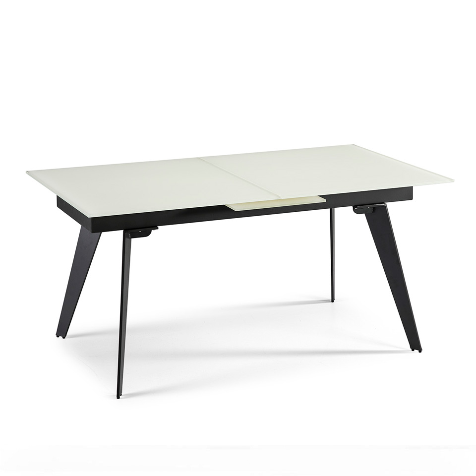 Dining table with extendable center made of stainless...