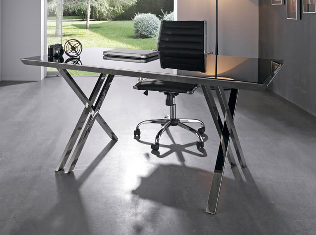 Office desk with stainless steel frame.