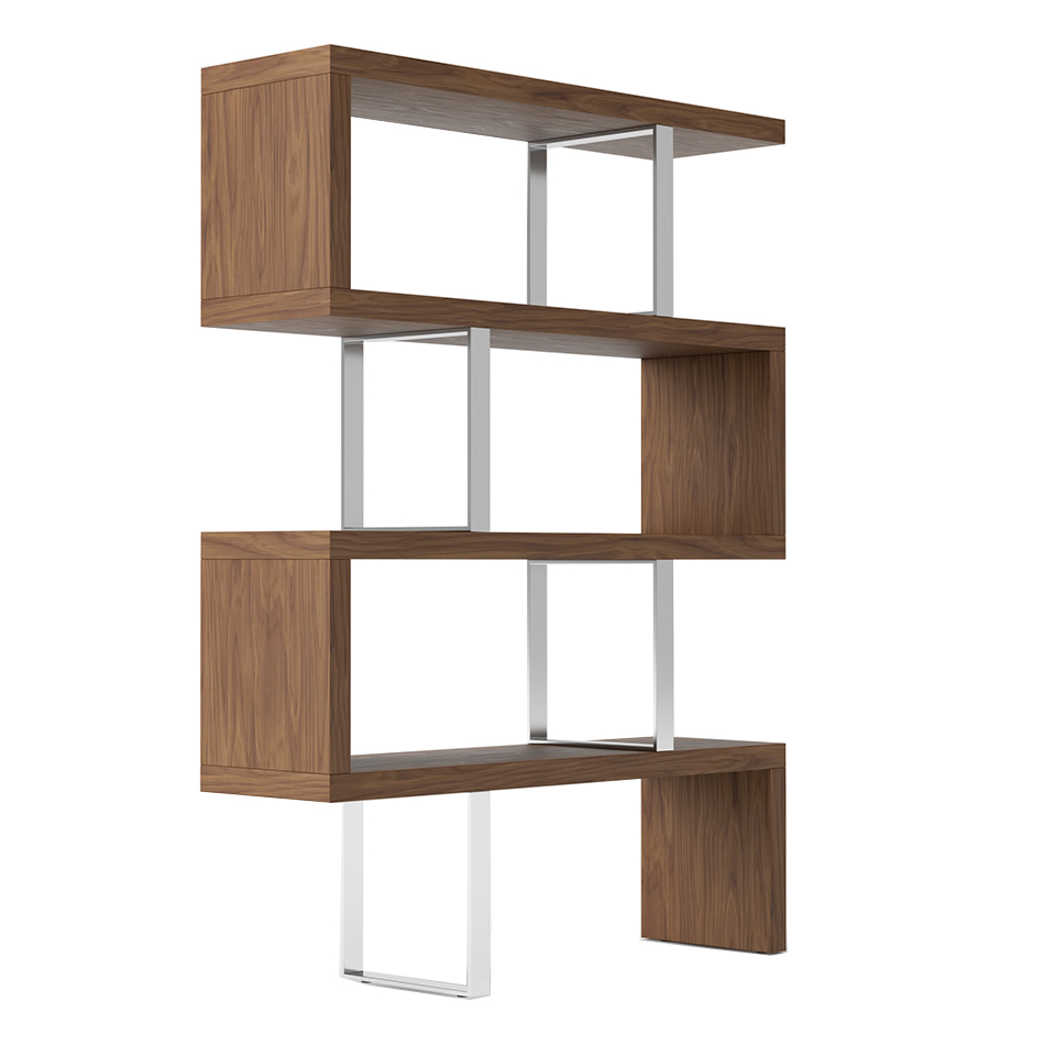 Bookshelves in walnut veneered wood and stainless steal structure