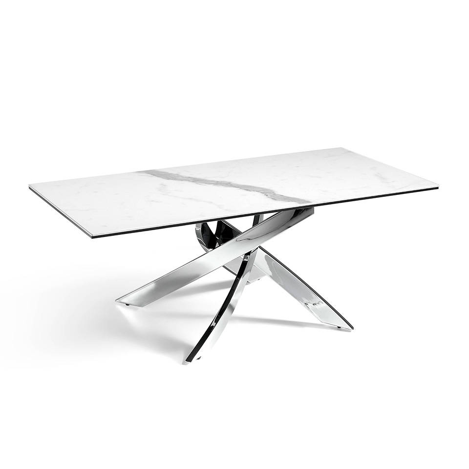 Centre table with white porcelain marble cover and a stainless steel base..