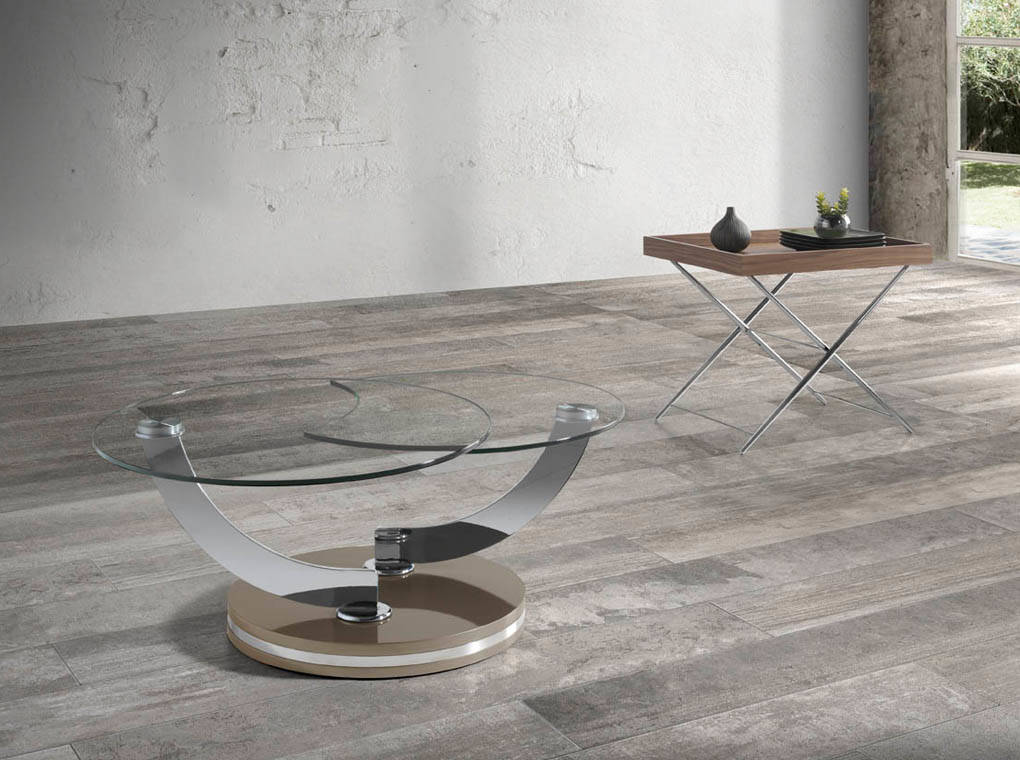 White wood and tempered glass swivel coffee table