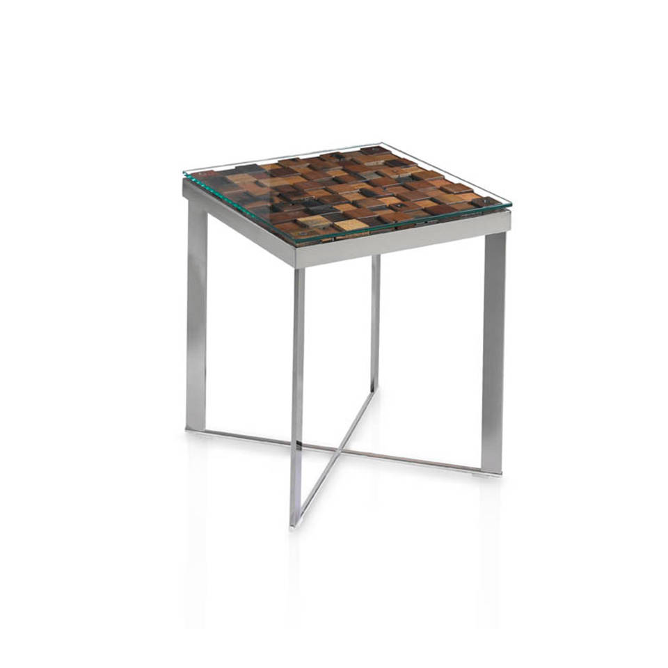 Steel corner table and recycled wooden cover.