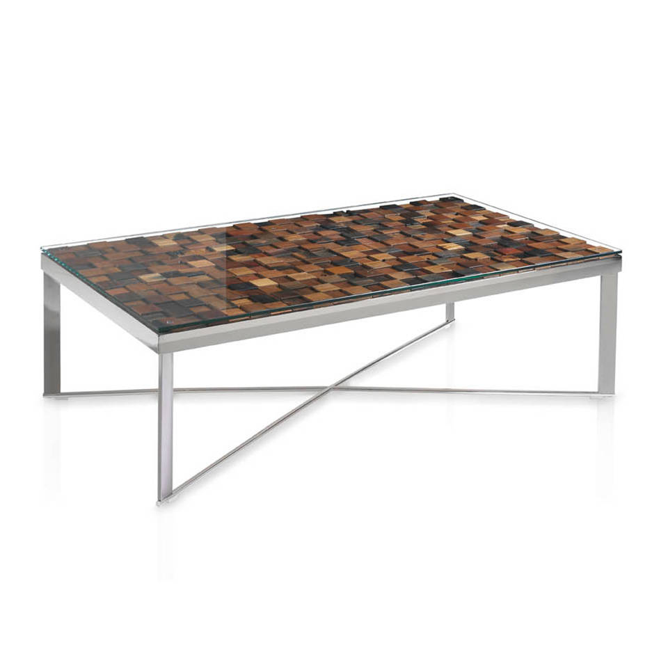 Steel centre table and recycled wooden cover.