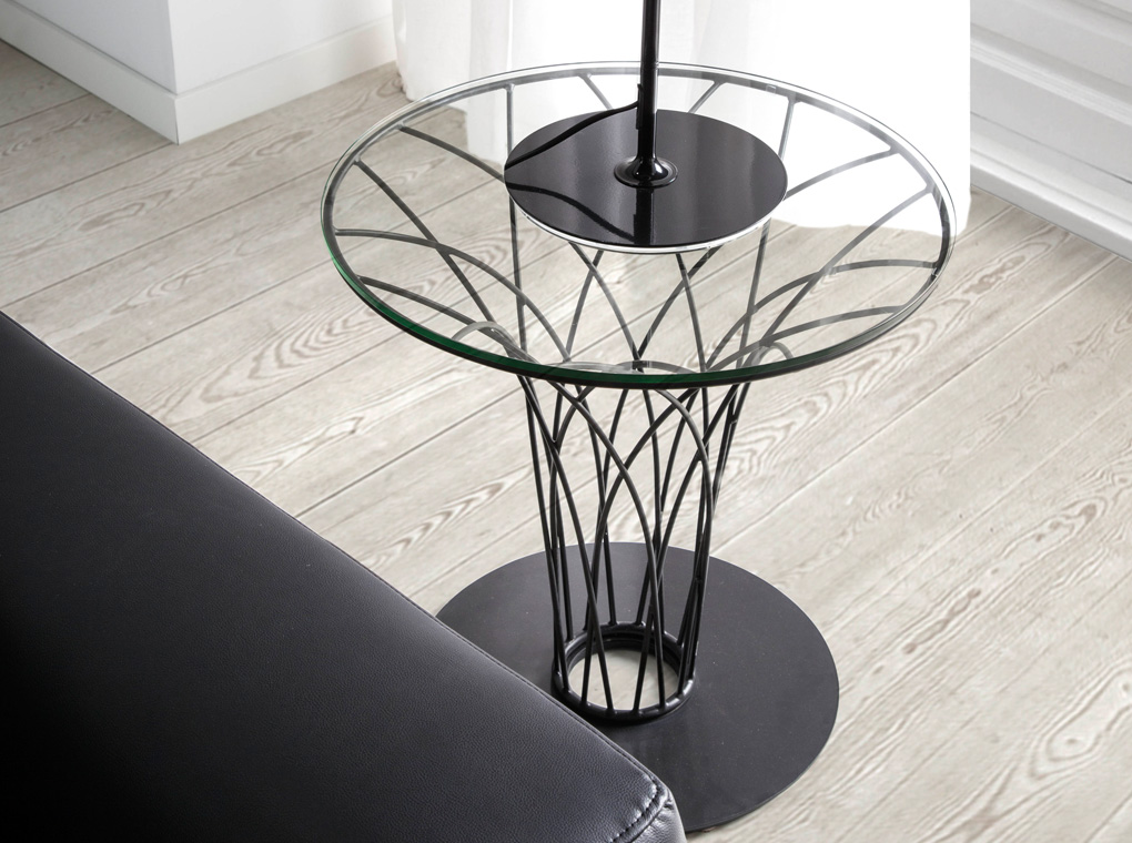 Corner table manufactured in steel with tempered glass top