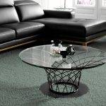 Round tempered glass and black steel coffee table