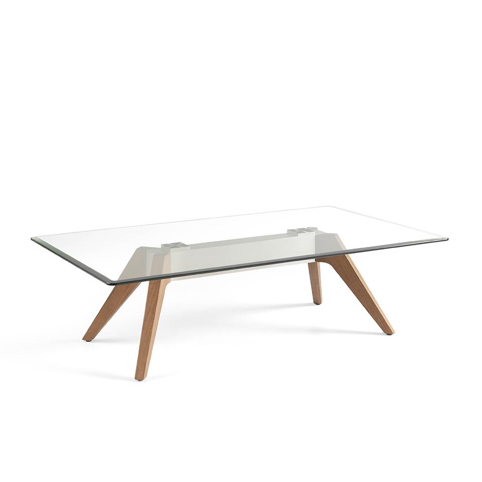 Mesa de centro con tapa cristal templado, base de acero inoxidable y patas de nogal