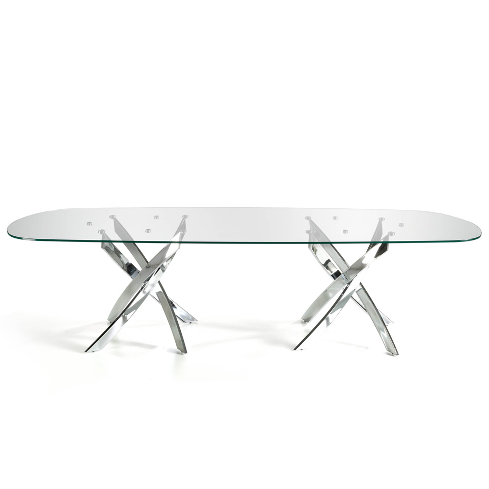 Tempered glass dining table and double curved chrome steel base