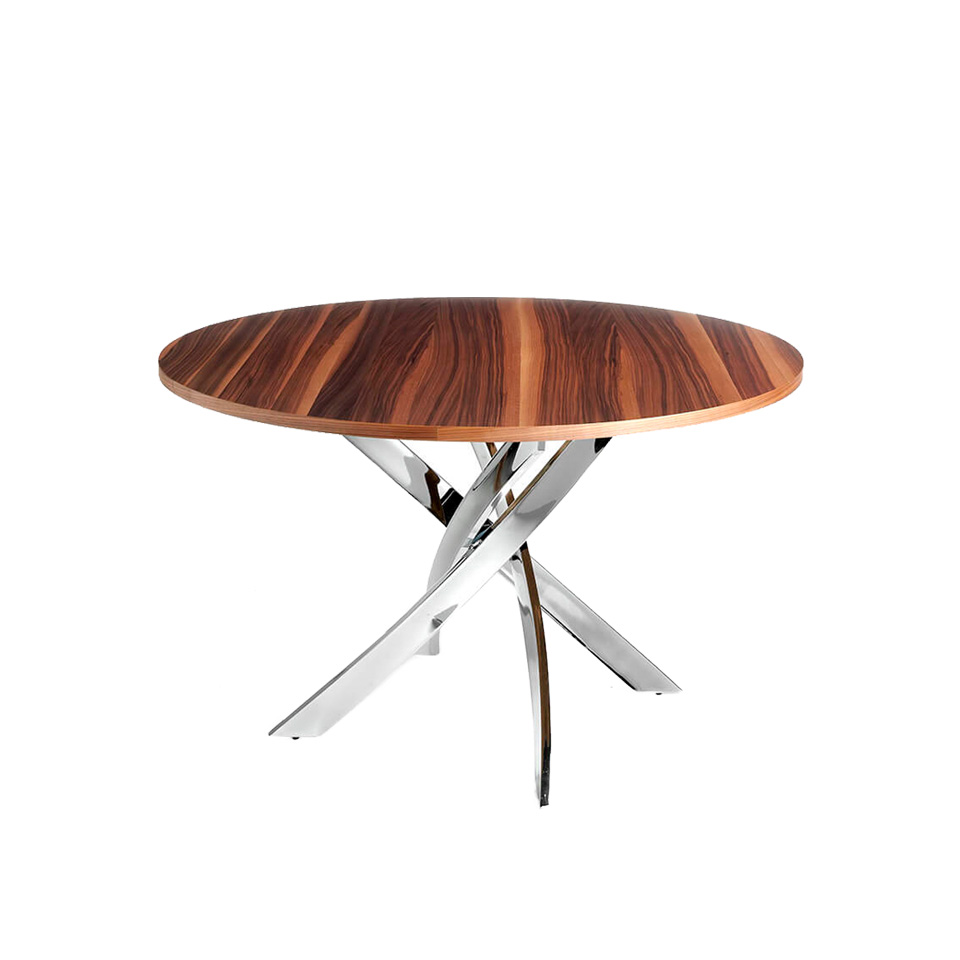 Dining table with an lacquered steel base and walnut top