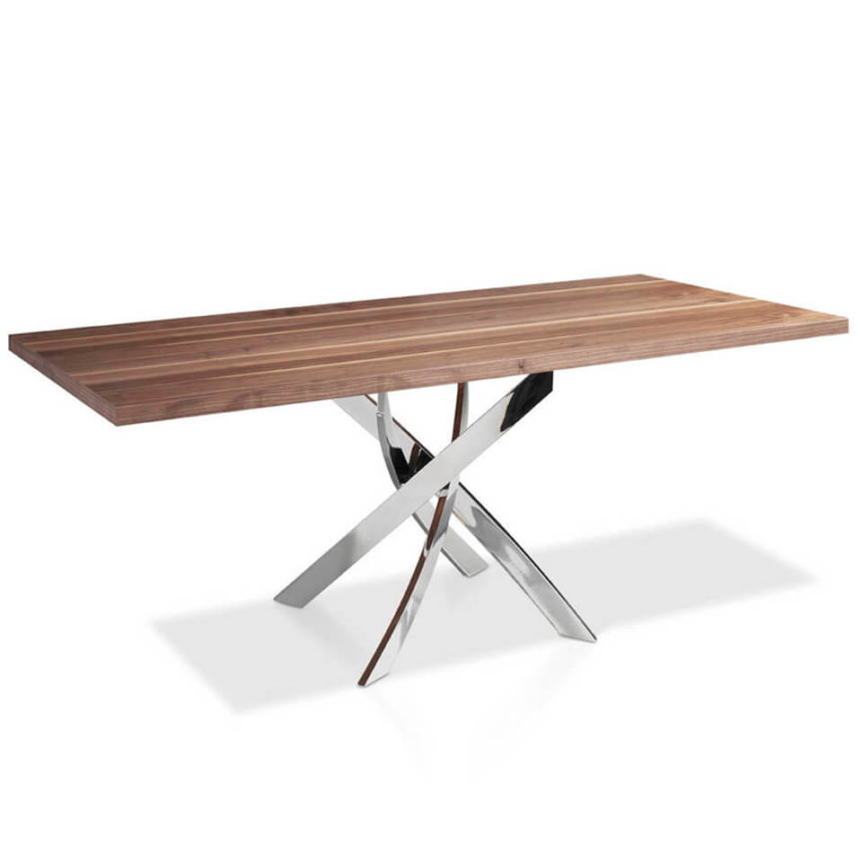 Walnut wood dining table and curved chrome steel