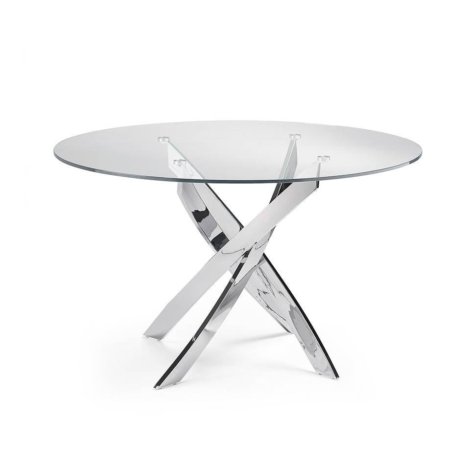 Table à manger avec base en acier inoxydable.
