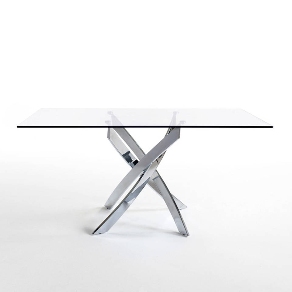 Curved chrome steel and tempered glass dining table