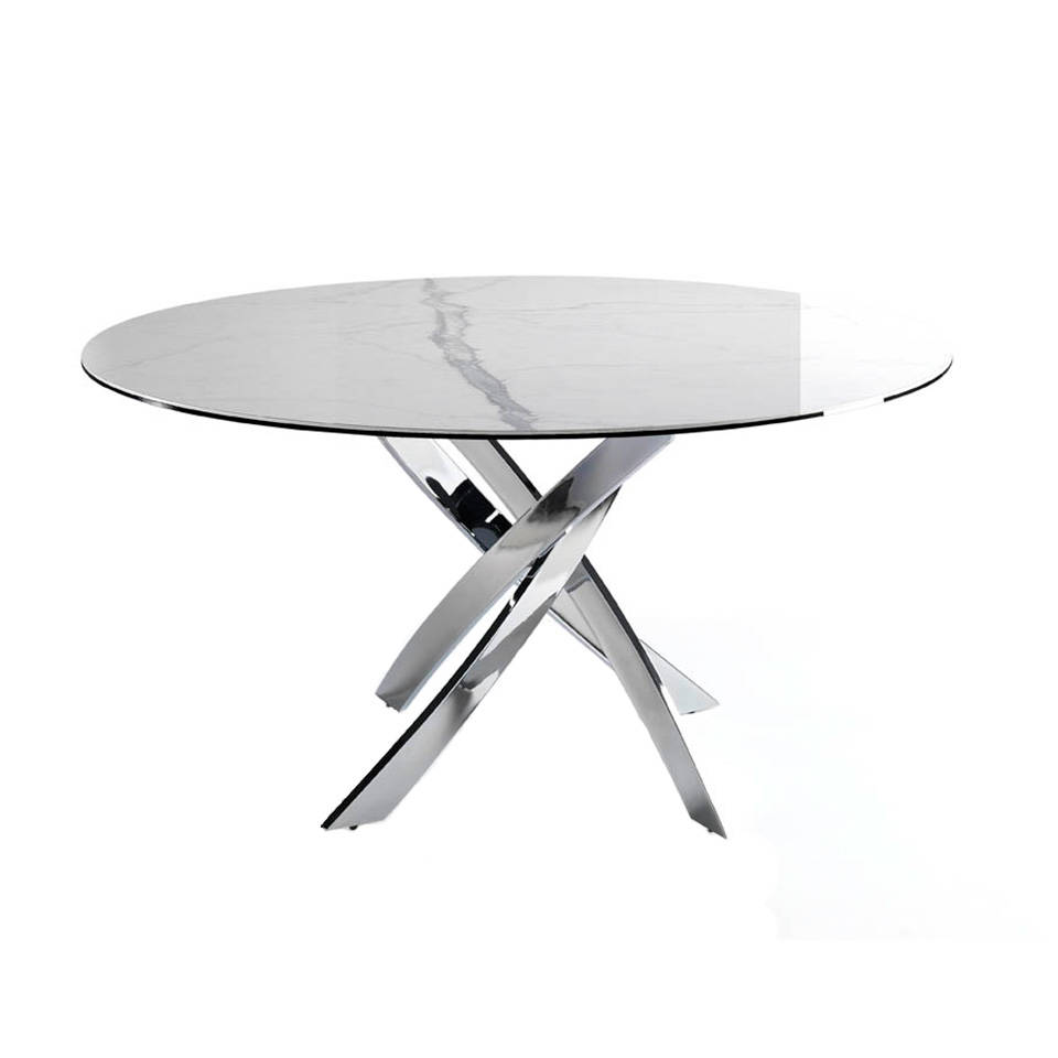 Dining table with a stainless steel base and porcelain marble cover.