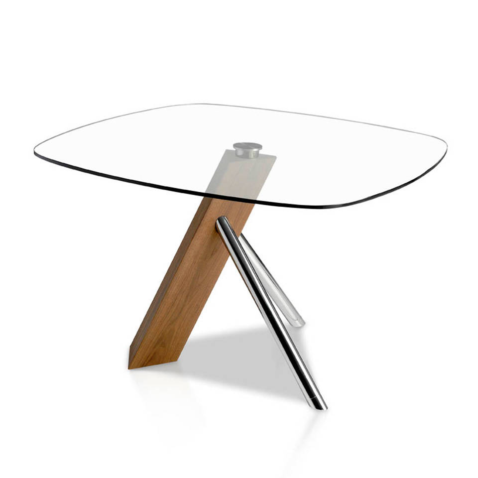Steel, Walnut and glass dining table.