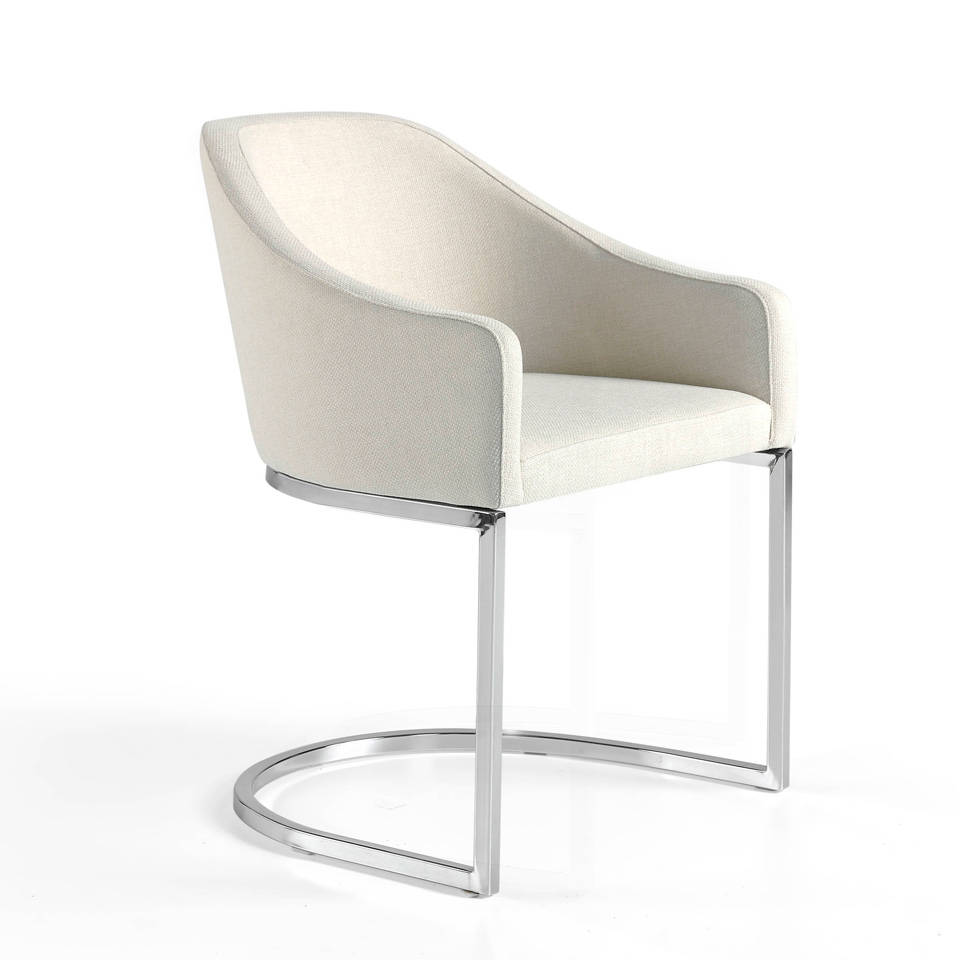 Chair upholstered in leatherette with chromed steel...