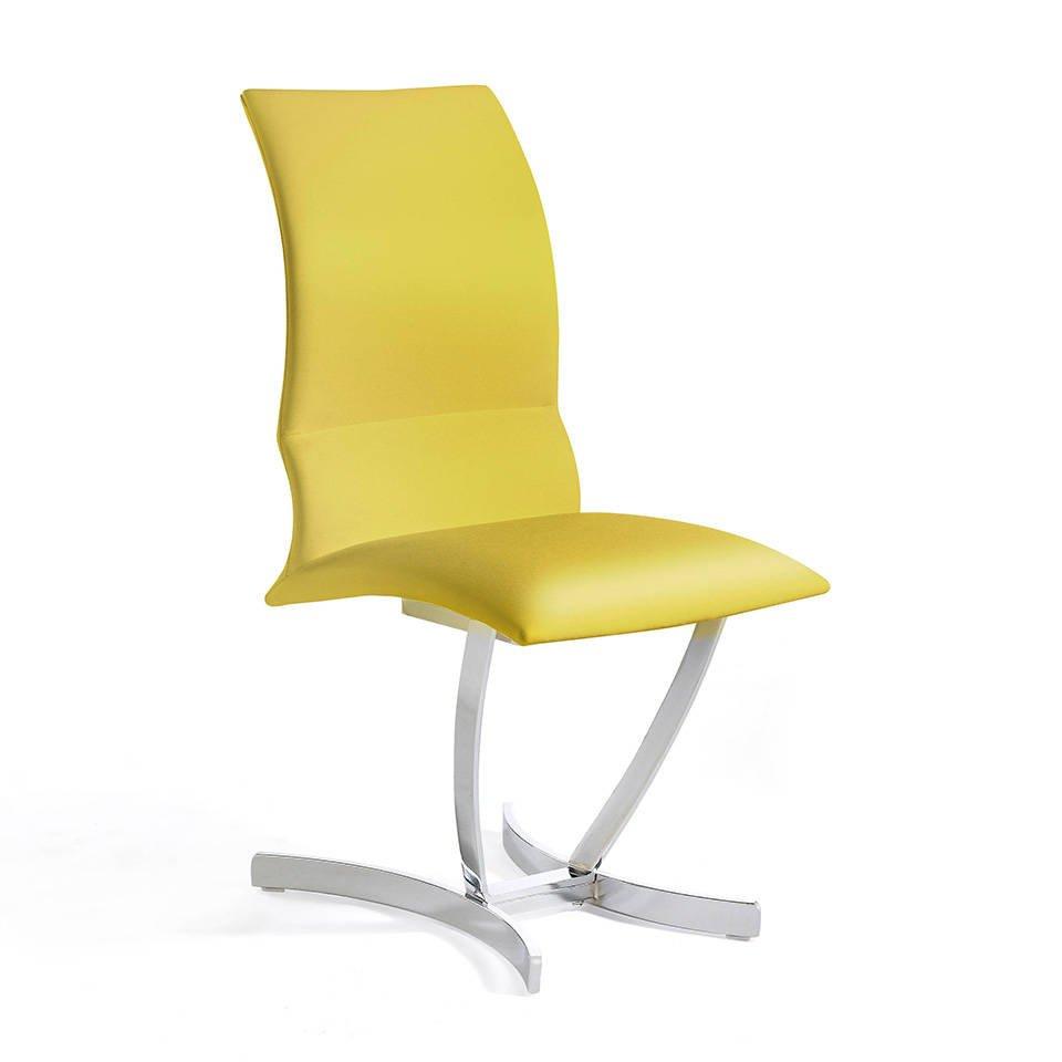 Stoffbezogener Stuhl mit Edelstahlgestell.