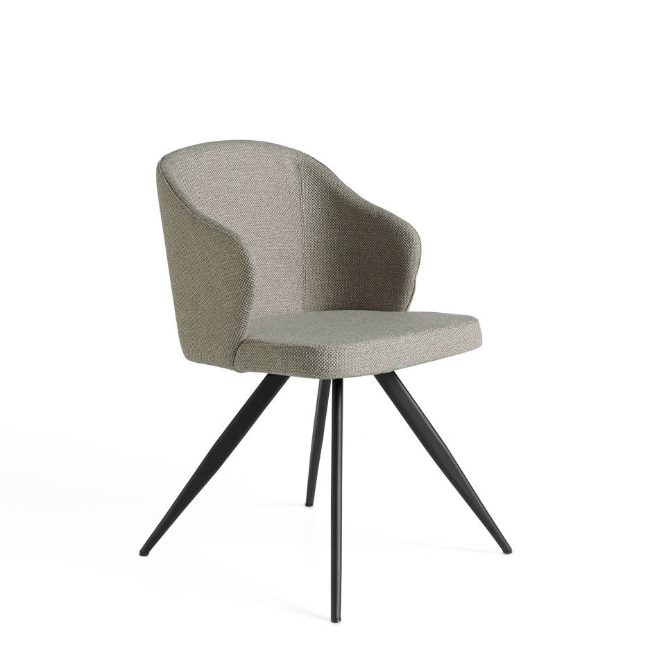 Chair upholstered in fabric with black steel legs