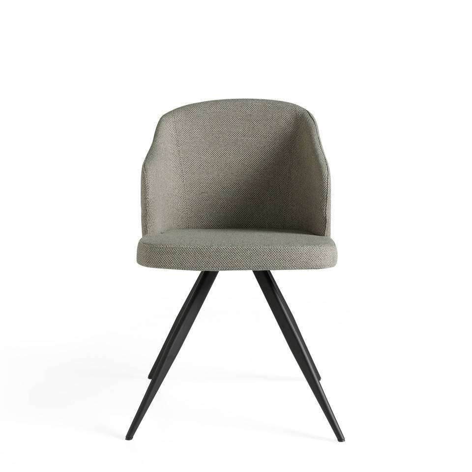 Upholstered chair with steel structure painted in epoxy