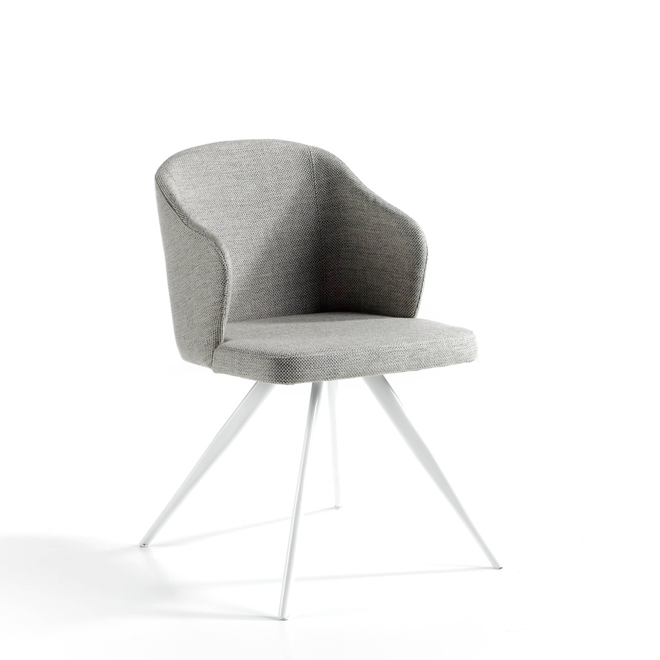 Chair upholstered in fabric with white steel legs