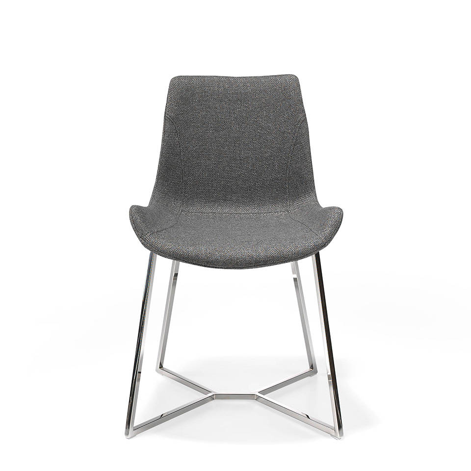 Chair upholstered in fabric with chrome steel legs