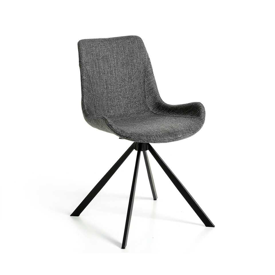 Swivel chair upholstered in fabric with black steel legs