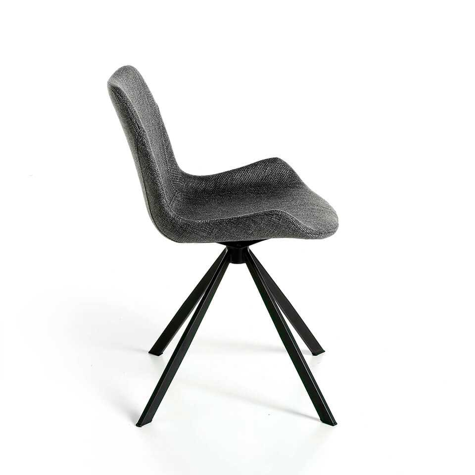 Upholstered swivel chair with steel structure painted in epoxy