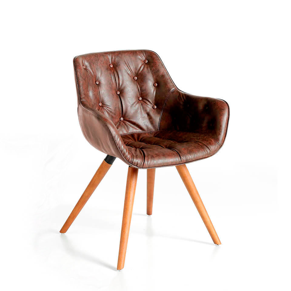 Chair upholstered in leatherette with solid wood legs in Walnut color