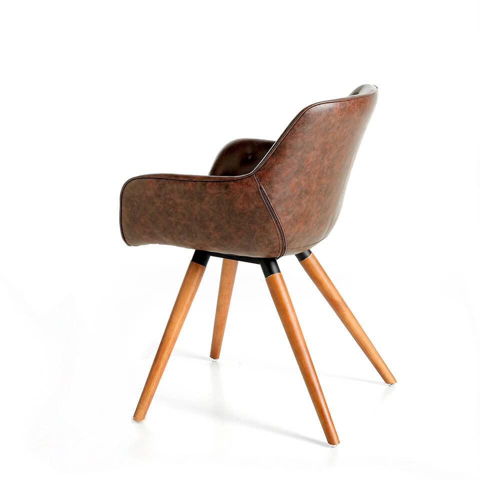 Upholstered chair with ash wood structure