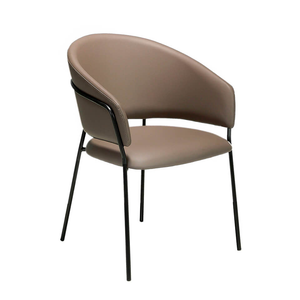 Chair upholstered in leatherette with black steel frame