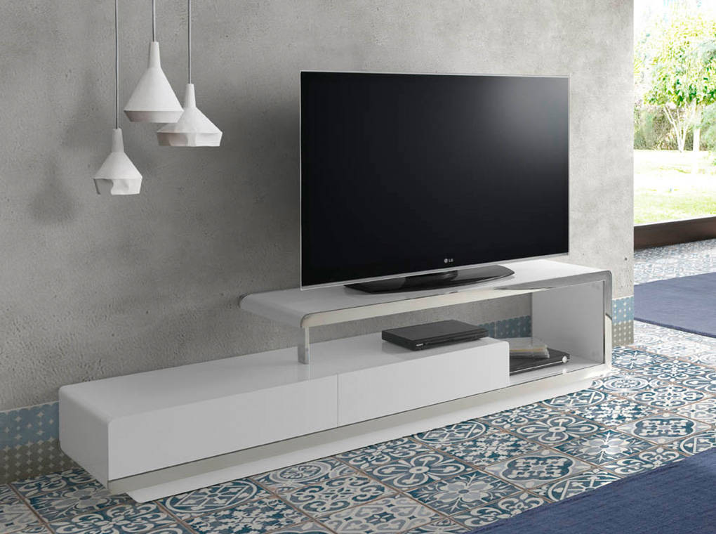 Mueble TV de DM lacado con frontal de acero inoxidable